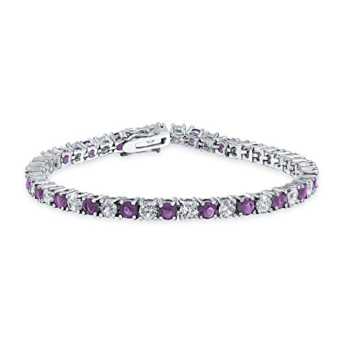 Bling Jewelry Purple White Alternating Simulated Amethyst Round Cubic Zirconia 12.00 CT 4 Prong Basket Set Solitaire AAA CZ Tennis Bracelet for Women Prom Bride Silver Plated 7.5 Inch
