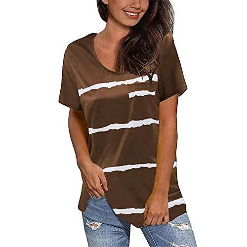 Camiseta Mujer Verano Sexy Cuello Redondo Camiseta De Manga Corta Camiseta Suelta Y De Moda A Rayas Simple Y Transpirable Camiseta Deportiva Linda Y De Moda Mujer D-Khaki 3XL
