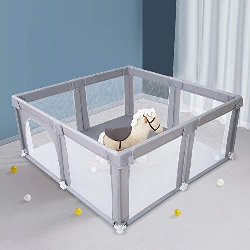 Arkmiido Grand parc pour bébé 157 x 155 x 67 cm, facile à assembler pour l'intérieur et l'extérieur centre d'activités pour enfants avec maille respirante robuste et sécurisée pour les tout-petits