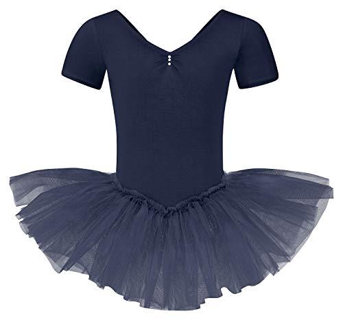 tanzmuster Kinder Ballett Tutu Nele - süßer Kurzarm Ballettbody mit Tuturock und Glitzersteinen in Marineblau, Größe:152/158