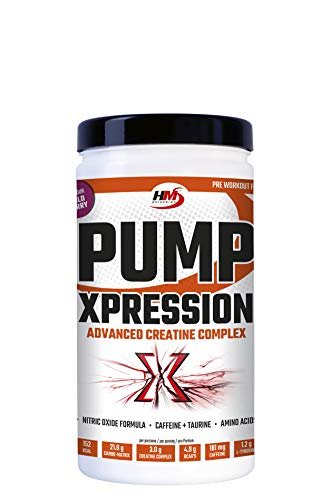 HMSelection Pump Xpression - integratore energetico a base di aminoacidi, creatina, vitamine, minerali e caffeina - ideale per aumentare l'energia, forza e massa muscolare (Wildberry, 800g)