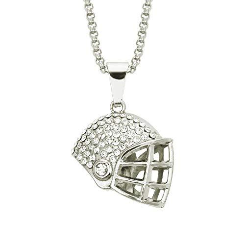 JIAOBU Personalisierte Hip Hop Halskette Diamond Fashion Football Helm Anhänger Halskette Halskette Trend Wear Zubehör Silber -0,3 * 75Cm Plaid Chain
