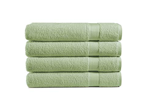 100% Cotton 4-Piece Bath Towel Set: Luxuriously Sized (30 X 54 Inch), Classic Amercian Construction, Soft, Highly Absorbent, Machine Washable (Sage Green)