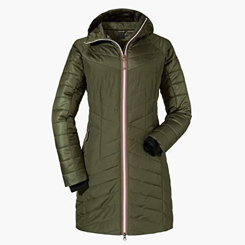 Schöffel Damen Thermo Coat Orleans warme Thermojacke für Damen mit Kapuze und Steppmuster, komfortabler Damen Mantel mit 2-Wege-Reißverschluss, deep depths, 34 (XS)