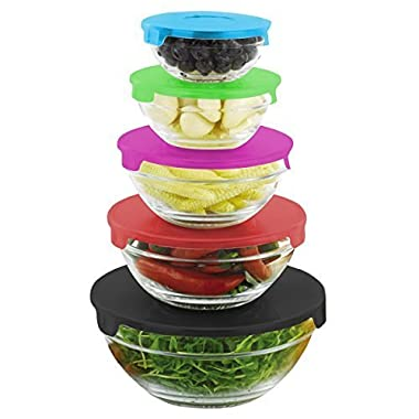 Home Basics SC44620 Glass Food Storage Containers with Multi Color Plastic Lids
