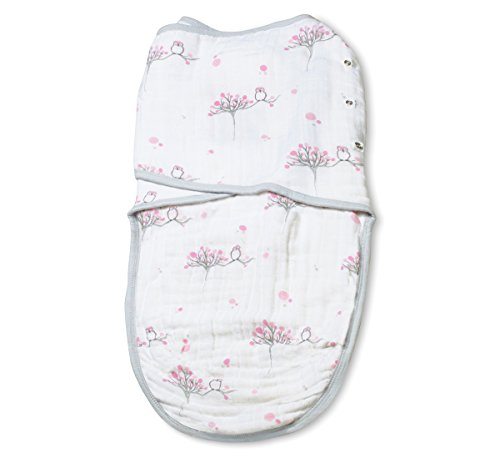 aden + anais Easy Swaddle Wearable Baby Wrap, 100% Cotton Muslin, For the Birds- S/M