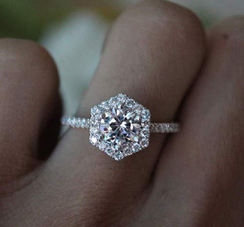 Wenbin Fashion Ring 925 Sterling Silver Artificial Mossau Diamond Ring White Topaz Cubic Zirconia CZ Diamond Elegant Eternity Engagement Wedding Band Ring Size 6-10 (Size 6)