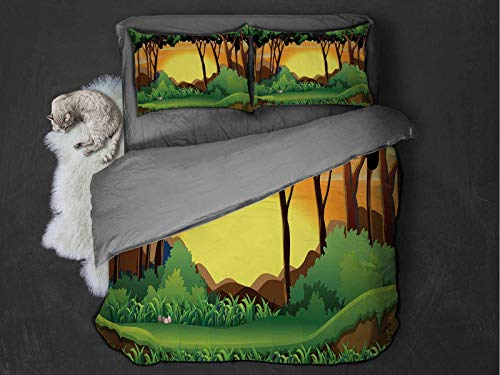 Forest Comfort Luxurious Softest Premium Bed Sheet Set Cartoon Sunset over Hills Tree Spring Season Inspirations Green Bushes Anti-wrinkle and anti-fading (Full) Green Caramel Yellow