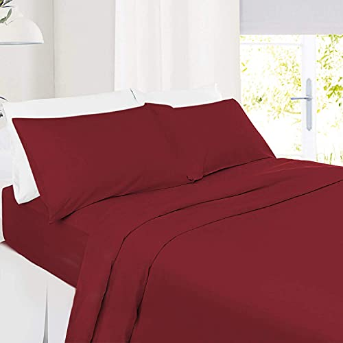 5 PC Split Cal-King| Wine Bed Sheet Set 100% Organic Cotton Split Sheet Set for Adjustable Bed Long Staple Soft Cotton Yarns Premium 600 Thread Counts Split Sheet with Extra 21' Deep Mattress