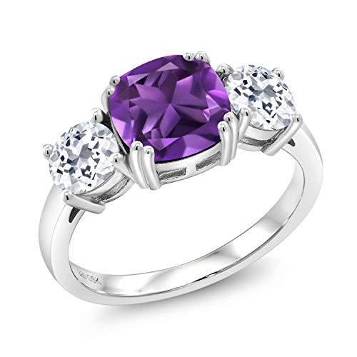 Gem Stone King 925 Sterling Silver Purple Amethyst and White Topaz Women Meghan Ring (3.05 Ct Cushion Cut, Gemstone Birthstone) (Size 6)