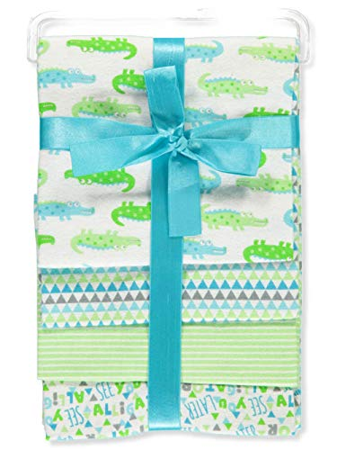 Zak and Zoey Lovable and Cozy 4-Pack Receiving Baby Blankets - 100% Cotton 26' x 26' (Alligator)
