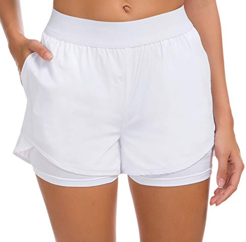Custer's Night Women's Running Short Workout Athletic Jogging Shorts 2-in-1 White 2XL
