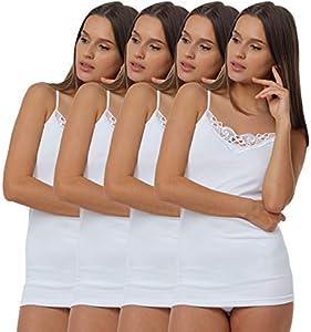 4 Piezas Camiseta interior con encaje, 100% Algodòn, color blanco, Talla L- 44/46