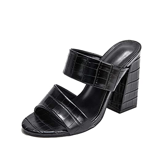 Sandalias de tacón alto y con forma de almendra para mujer, Negro , 40 EU