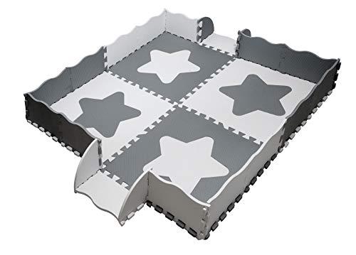 Puzzlematte Baby; Large Sterne EVA, mit Rändern; 24 Stück; Extra große Fliese - 61,5 cm x 61,5 cm; Extra Dick-1,2 cm - Puzzlematte Baby, Puzzelmatten für Babys, Spielmatte Puzzle, Graue und weiße