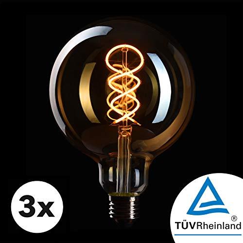 CROWN LED 3 x Edison Glühbirne E27 Fassung, Dimmbar, 4W, 2200K, Warmweiß, 230V, EL20, Antike Filament Beleuchtung im Retro Vintage Look