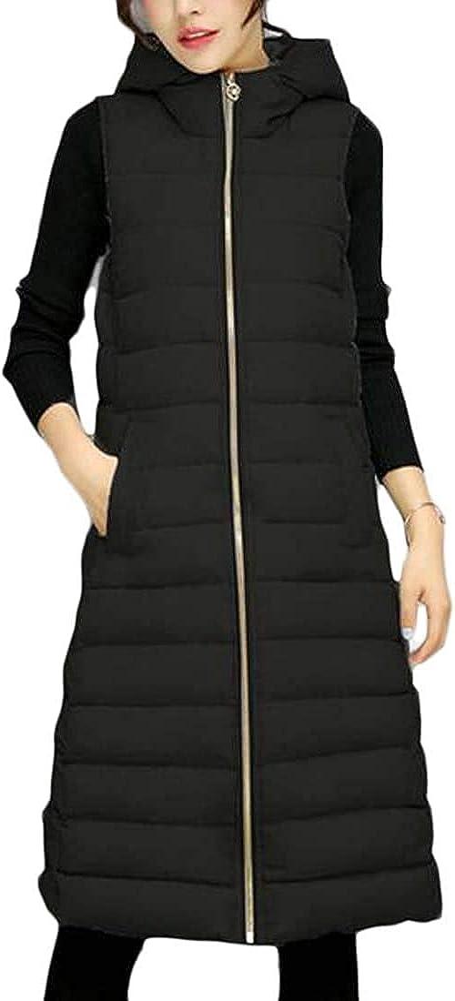 Yhsuk Women's Sleeveless Hoodie Long Quilted Vest Winter Down Vests Waistcoats Puffer Jacket