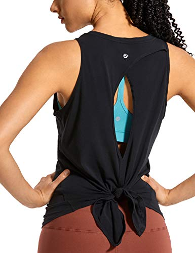 CRZ YOGA Women's Pima Cotton Workout Sleeveless Shirts Round Neck Yoga Vest Open Back Sport Tank Tops Black S