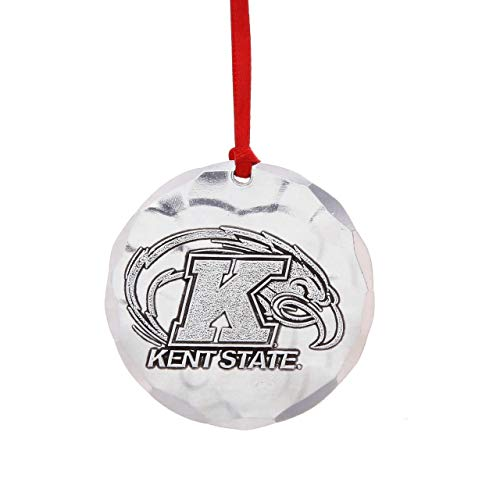 """Wendell August Forge Kent State University Ornament, 2.125"""" Round – Display Golden Flashes Pride with a Hand-Hammered Aluminum Hanging Ornament for KSU Alumni - Made in USA"""
