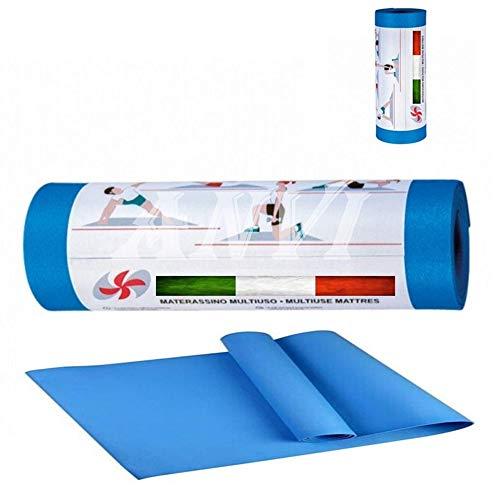 Materassino Fitness Palestra Arrotolabile 50x180 Tappetino per Yoga Antiscivolo Lavabile Colore (Blu)