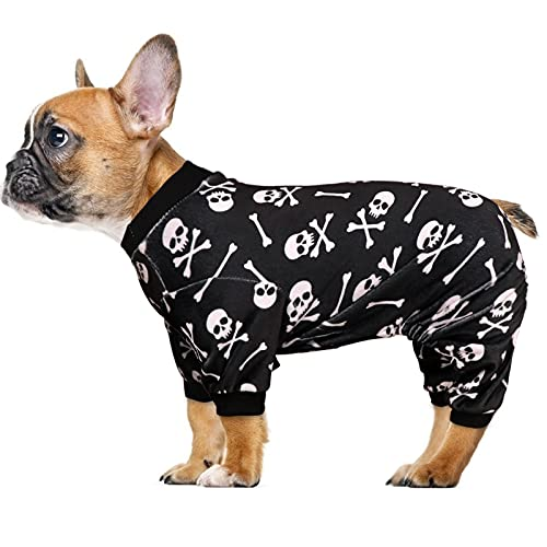 Dog Pajamas Halloween Dog Onesie Short Plush Dog Pjs Skull&Crossbones Super Soft and Stretchy Dog Jammies for Small Dogs (XS)