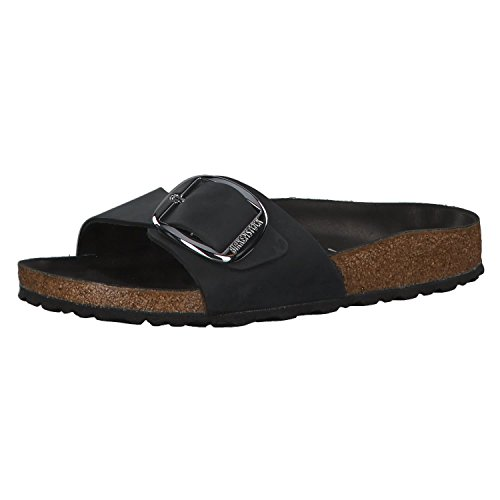 Madrid Big Buckle Black Oiled Leather Women Clogs