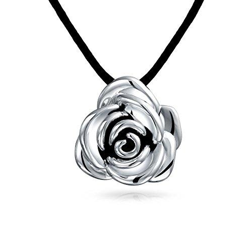 Große Rose Blume Kette Mit Anhänger Für Damen Schwarzes Seidenband Hohlen Antiqued 925 Sterling Silber 16 Zoll