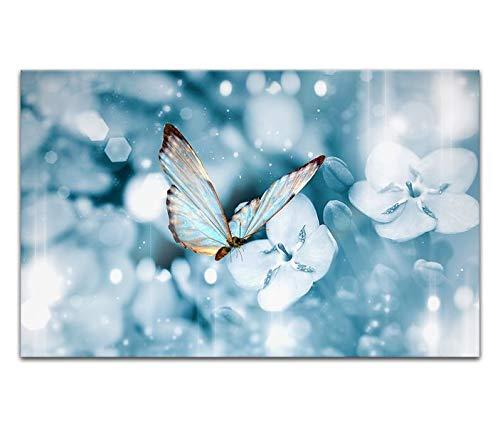 Acrylglasbilder 80x50cm Schmetterling blau Wasser abstrakte Kunst Acryl Bilder Acrylbild Acrylglas Wand Bild 14H2011