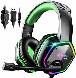EKSA E1000S Gaming Headphone with RGB Light for Phone, PS4, Xbox One, Nintendo Switch, Mac, Laptop - Green