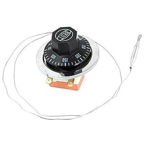 sourcing map AC 250 V 16 A 50 5050 A 300 Celsius termostato con Forma de freidora Redonda Esfera de Profundidad