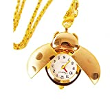 Lovely Ladybug Cartoon Open Wings Pendant Clock, Silver and Bronze Steel Quartz Fob Pocket Watch Necklace, Clothing Dress Collocation, Best Welcome Gift for Lady Women Girl