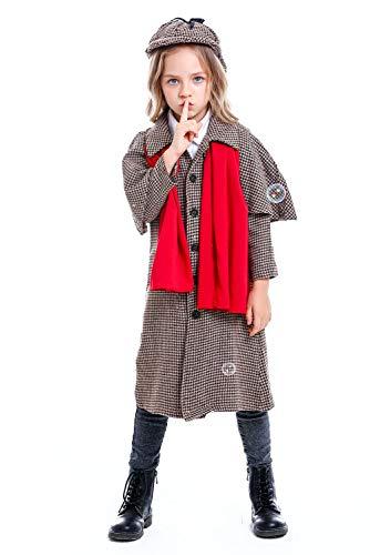 lancoszp Disfraz de Detective Halloween Abrigo Largo a Cuadros con Chal Conjunto Completo, XL