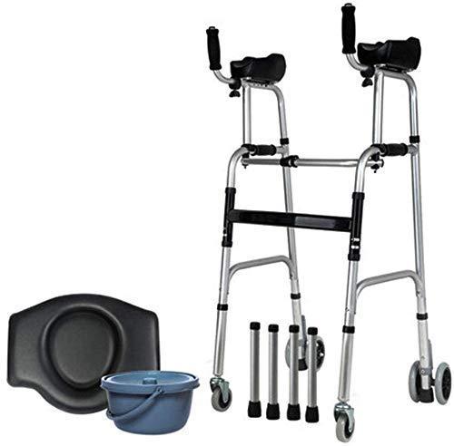 Caminantes para personas mayores Caminando Marco AIDS Movilidad Rollator Walker Carrito de compras plegable Cochecito Portátil Scooter Armés Ligero con asiento, 4 ruedas usadas para personas mayores R