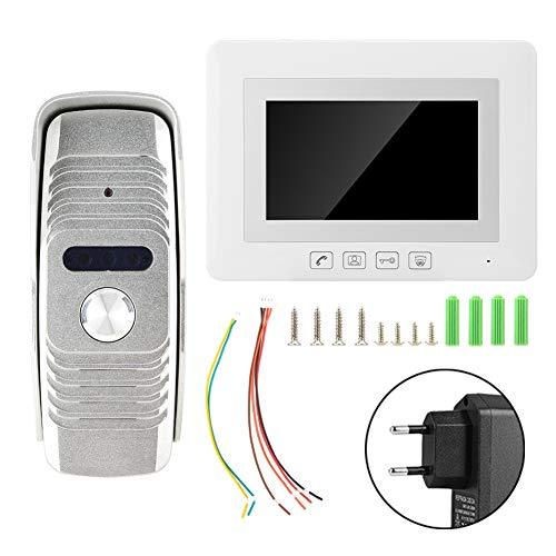 Zetiling Deurbel, 7 inch, helder display, video-deurintercomsysteem, deurbel met veiligheidskabel voor gebouwen