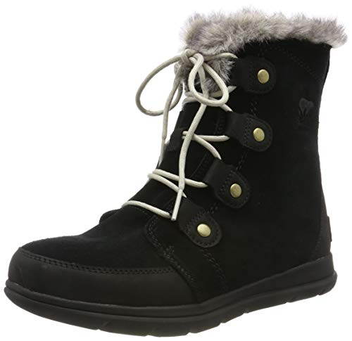 Sorel - Women's Explorer Joan Waterproof Insulated Winter Boot, Black, Dark Stone, 9 M US