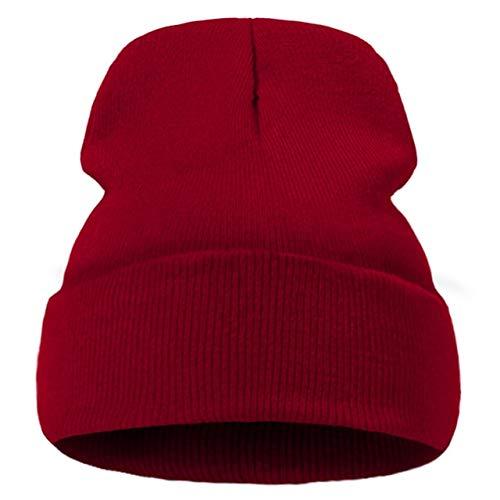 Gorro con Estampado deModa paraMujer, Sombreros de Punto Casuales para Hombre, Gorro de Invierno de algodón al Aire Libre, Gorros Simples cálidos de Color sólido-Wine Red