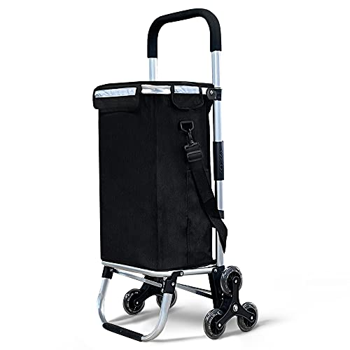 VOUNOT Chariot de Courses 6 Roues en Aluminium avec Compartiment Impermeable Isotherme Caddie de Courses Pliable 3 en 1 Sac Chariot Montant Escalier Noir