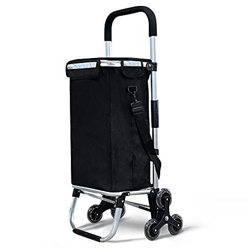 VOUNOT Carrito Compra Plegable de Aluminio, Carro de la Compra 6 Ruedas con Bolsa Impermeable Desmontable, 50L, Negro