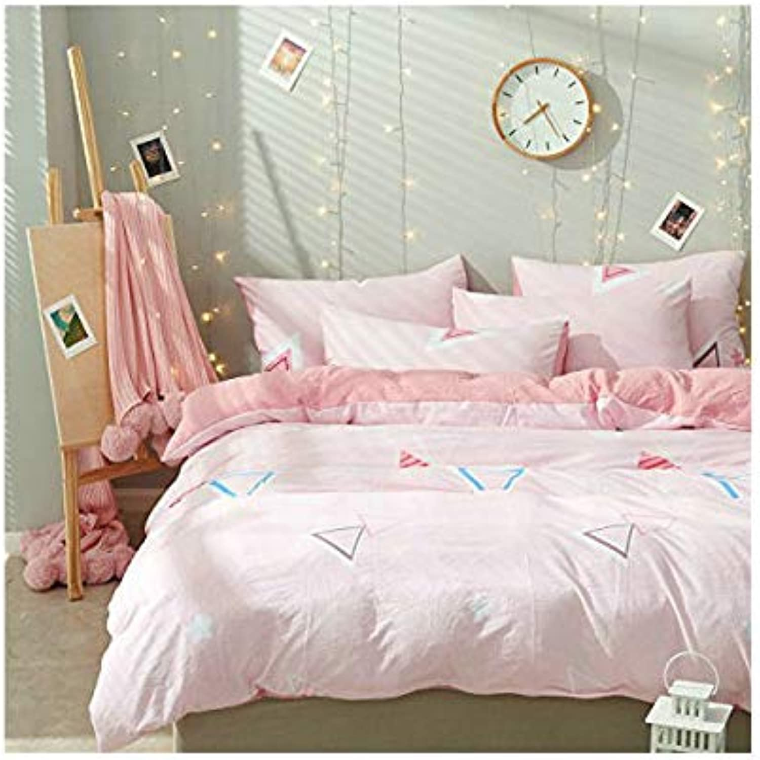 4pcs Cotton Bedding Autumn Winter Duvet Cover Without Comforter Fitted Bedsheet Pillowcases XS Twin Full Queen Princess Supersoft Cat Range Designs (Twin, 3pcs, Dream, Pink)