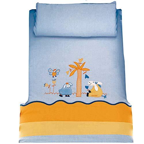 Dilibest by Picci Parure de lit 2 pièces pour lit bébé/enfant Motif 12 Vintage Bleu/orange