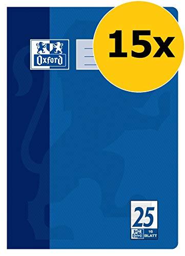 OXFORD 100050311 Schulheft Schule 15er Pack A4 16 Blatt Lineatur 25 - liniert mit Rand blau