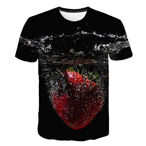 ASDWA 3D Impreso Camisetas,Patrón De Fruta Personalizado Vintage Negro Unisex Camisetas Impresas En 3D Transpirable Verano Cuello Redondo Camisetas Casuales Manga Corta para Niñas Adolescentes, M