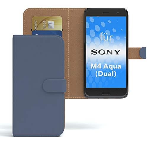 EAZY CASE Hülle für Sony Xperia M4 Aqua (Dual) Bookstyle mit Standfunktion, Book-Style Case aufklappbar, Schutzhülle, Flipcase, Flipstyle, Flipcover mit 2 Kartenfächern aus Kunstleder, Dunkelblau