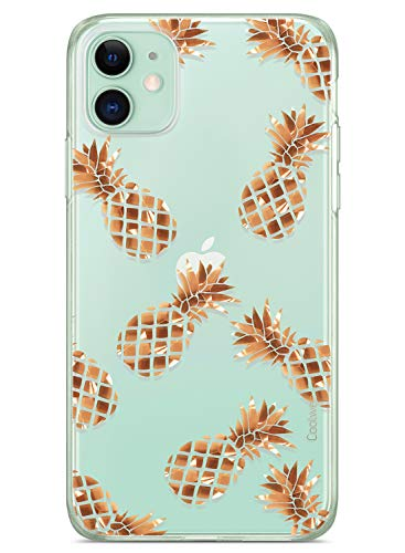 Coolwee iPhone 11 Case Rose Gold Pineapple Floral Case for Women Girl Men Foil Clear Design Shiny Glitter Hard Back Case with Soft TPU Bumper Cover for Apple iPhone 11 6.1 inch 2019 Pineapple