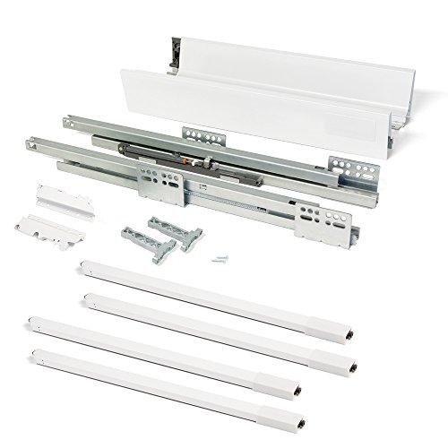 EMUCA - Kit de cajón para Cocina o baño con guias de extracción Total y Cierre Suave, Altura 204mm y Profundidad 500mm, Blanco