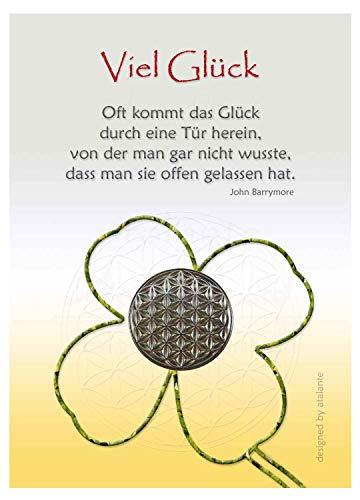 EnerChrom Blume des Lebens Glücksmünze - Viel Glück - 1 Stück, Farbe Silber - Glücksbringer Zitat Lebensblume Talisman