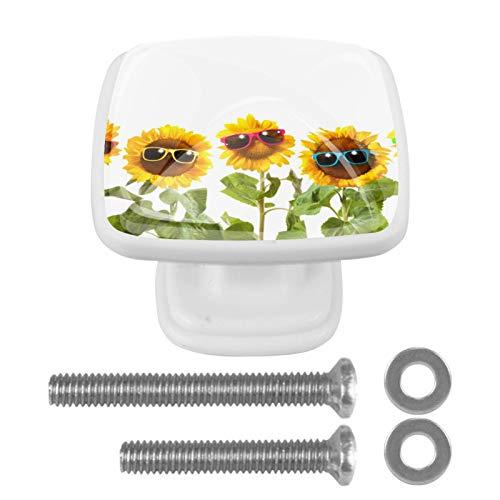 YATELI Flor Gafas de Sol Blanco Perillas de extracción de para gabinetes, armarios, Puertas y cajones de Muebles: se Venden como un Paquete de 4 perillas