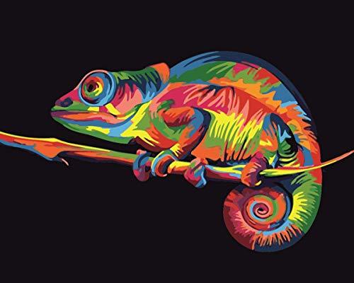 Toudorp Pintura al óleo de bricolaje por números animales, pintura al óleo sobre lienzo pintura por números con pinceles 16 x 20 pulgadas Lagarto colorido sin marco