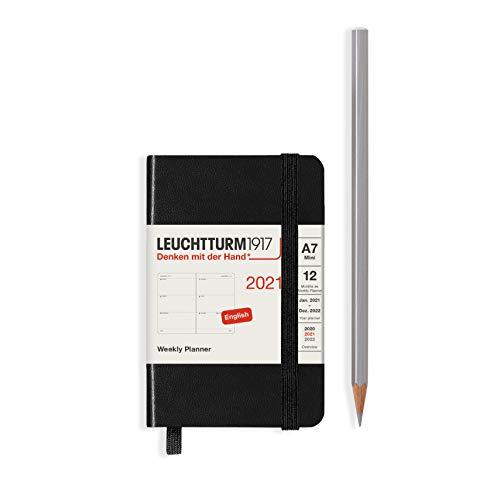 LEUCHTTURM1917 Wochenkalender 2021 Hardcover Mini (A7), 12 Monate, Schwarz, Englisch