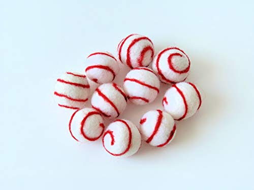 Cartissimi 10 witte vilten ballen met rode gestreepte strepen voor diverse knutselprojecten, kerstvilten slingers | vilten kralen